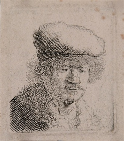 self portrait with cap pulled forward by rembrandt van rijn