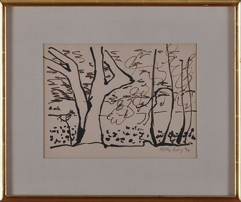 trees and stream by milton avery
