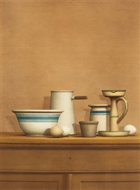 still life with eggs, candlestick and bowl (from america: the third century) by william h. bailey