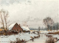 dutch village winter scene by hans van moerkerken