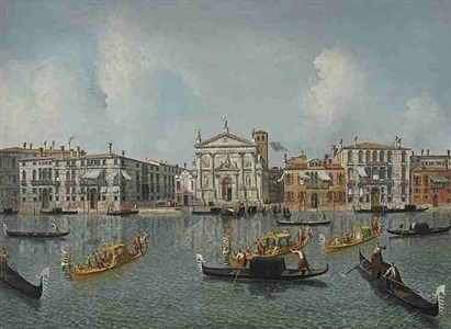 venice, the grand canal with the church of san stae by michele marieschi