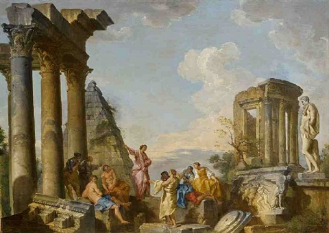 architectural capriccio with an apostle preaching by giovanni paolo panini