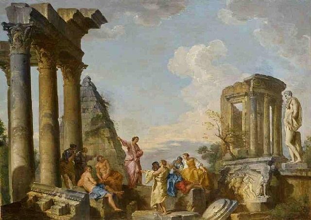architectural capriccio with an apostle preaching by giovanni paolo panini