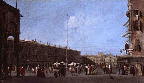 piazza san marco, looking west, from the campo di san basso by francesco guardi