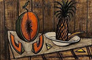 nature morte au melon et a l'ananas by bernard buffet