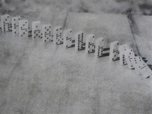 from the series metaphor/still life, domino effect by e.e. smith