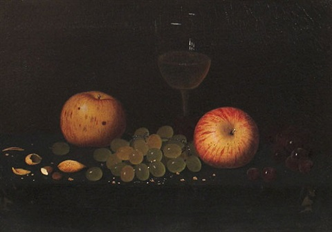 still life with apples and wine glass by william michael harnett