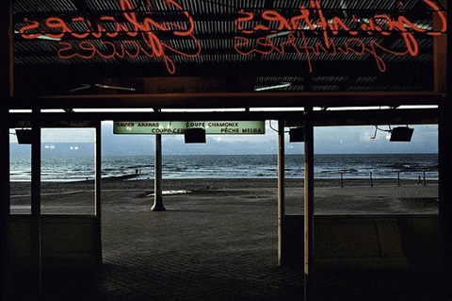 coffee on the beach, town of ostende, belgium by harry gruyaert
