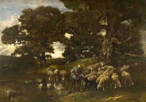 shepherd and his flock by charles émile jacque