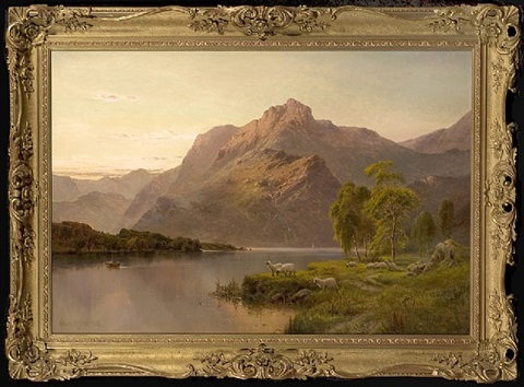 sheep grazing at the loch's edge by alfred de breanski sr