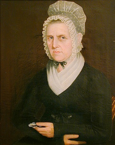 portrait of a lady holding her glasses by ammi phillips