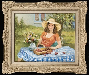 young girl with a straw hat by marcel dyf