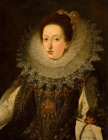 portrait of a noble woman by flemish school 17