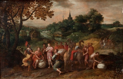 josephs brothers on their way to buy grain in egypt in a wooded landscape by hans jordaens iii