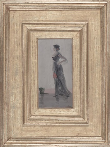standing woman with fan a study in rose and grey by leon dabo