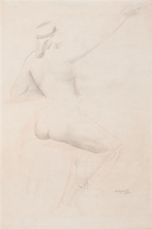 femme nue assise by alexander archipenko