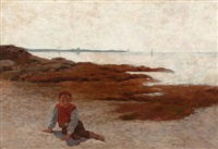 the beach at concarneau by arthur hoeber