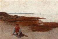 the beach at concarneau by arthur hoeber