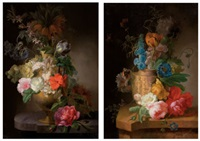 floral still life (+ another; pair) by pieter faes