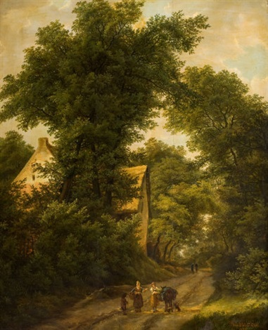woodland landscape with figures on a path by isabella catherine van assche kindt