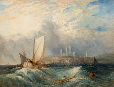 dutch vessels passing by a man overboard in choppy seas a city beyond by joseph mallord william turner