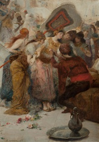 an exotic woman and her attendants by fernand cormon