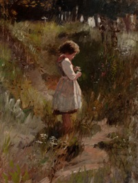 child picking flowers by frank hector tompkins