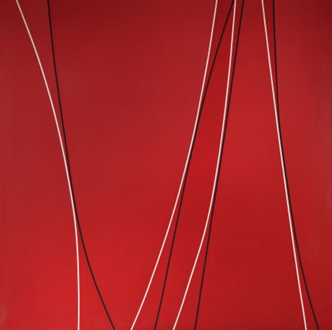 untitled black and white lines on red background by lorser feitelson