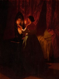 woman at a mirror by johann mongels culverhouse