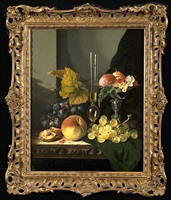 still life of fruit on a wooden ledge by edward ladell
