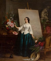 woman flower painter at the easel by jean baptiste antoine emile beranger