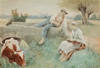 courting by the stream by edouard bernard debat-ponsan