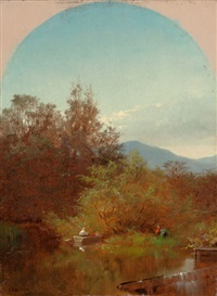 lake scene with fisherman by albert fitch bellows