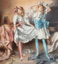 two girls dressing for a party by everett shinn