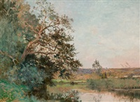 fishing on the river oize by edmond charles joseph yon