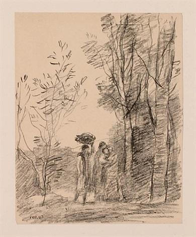 la rencontre au bosquet by jean-baptiste-camille corot