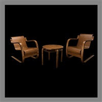 pair of armchairs no 31 and table no 70 by alvar aalto