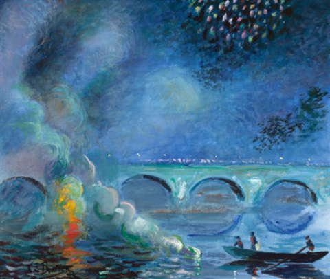 fireworks bridge at vernon france by theodore earl butler