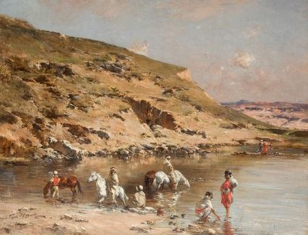 baignade de chevaux algerian caravan bathing horses against a rocky landscape by victor pierre huguet