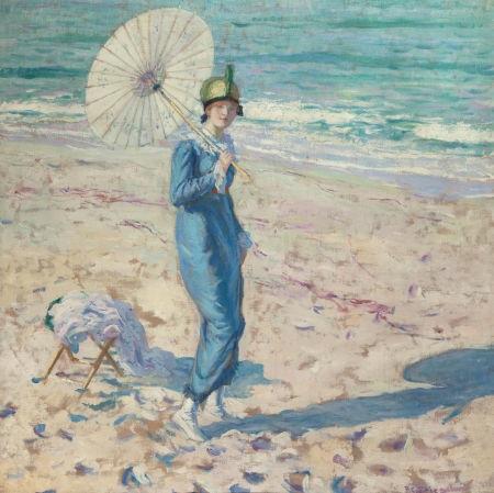 on the beach girl in blue by frederick carl frieseke
