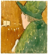 rear view of woman in green hat and coat, circa late 1920's by gwen john