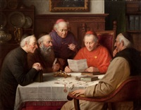 a meeting of the cardinals (catholic clergymen) by josef wagner-hohenberg