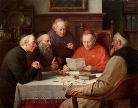 a meeting of the cardinals catholic clergymen by josef wagner hohenberg