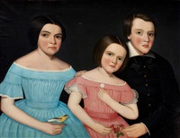 three children of henry joslen carter of stockbridge: anna electa, john calvin calhoun, mary adele by ammi phillips