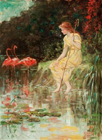 maiden with flamingos by frederick stuart church