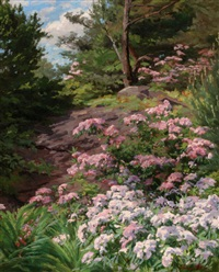 pink and white rhododendron in a forest by thomas allen