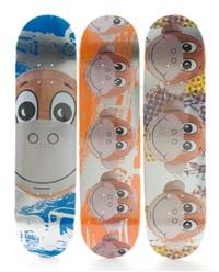 three skateboard decks by supreme (monkey train) by jeff koons