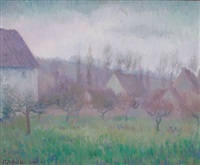farm orchard in winter, giverny by theodore earl butler