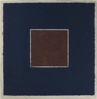 colored paper images - xx (brown square with blue) by ellsworth kelly