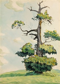 tree in a landscape by charles ephraim burchfield